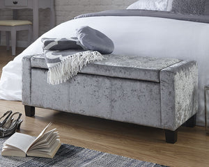 GFW Verona Crushed Velvet Ottoman Storage Bench-GFW-Grey-Better Bed Company