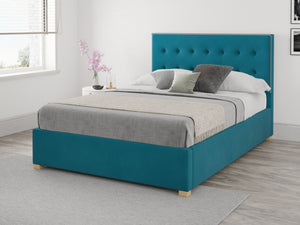 Better Seren Plush Teal Small Double Ottoman Bed-Better Bed Company