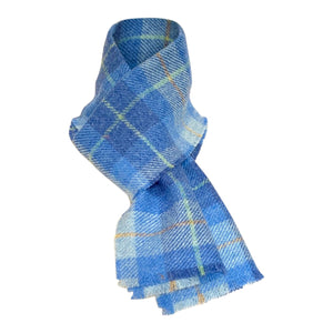 Harris Tweed Sky Blue Check Scarf