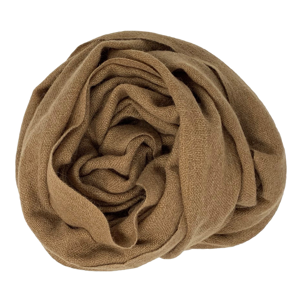 cashmere of nepal scarf folded with Shawl Reddish Brown colours.