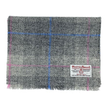 將圖片載入圖庫檢視器 Harris Tweed of Scotland Scarf in a Grey, Blue and Pink Check
