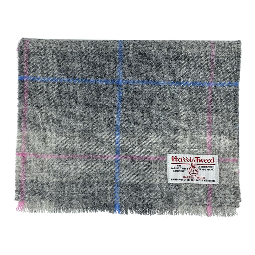 Harris Tweed of Scotland Scarf in a Grey, Blue and Pink Check