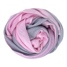 Load image into Gallery viewer, cashmere of nepal scarf folded with Shawl Pastel Pink/Grey colours.