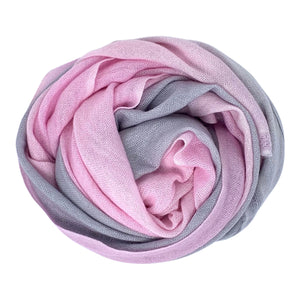 cashmere of nepal scarf folded with Shawl Pastel Pink/Grey colours.