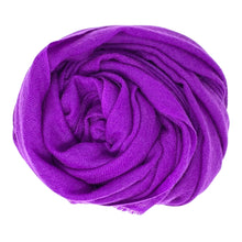 Load image into Gallery viewer, cashmere of nepal scarf folded with shawl bright purple colours.