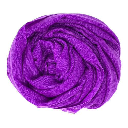 cashmere of nepal scarf folded with shawl bright purple colours.