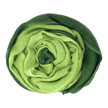 Load image into Gallery viewer, cashmere of nepal scarf unfolded with Shawl Duo Green colours.