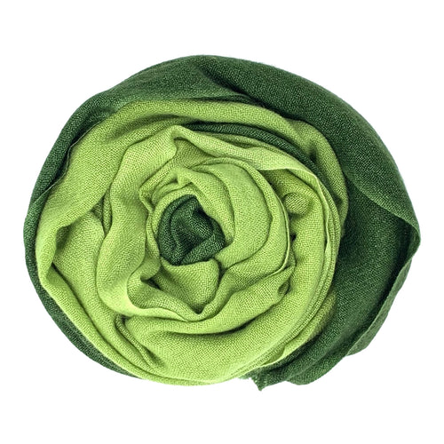 cashmere of nepal scarf unfolded with Shawl Duo Green colours.