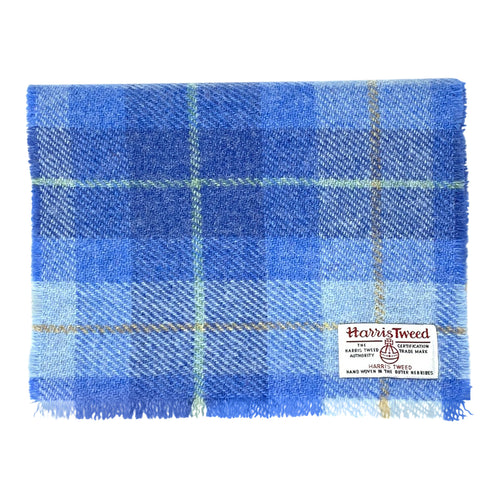 Harris Tweed of Scotland Scarf in a Sky Blue Check