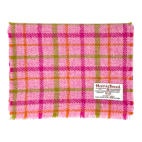 Harris Tweed of Scotland Scarf in a Pink, Green and Orange Check