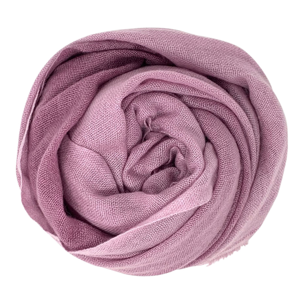 cashmere of nepal scarf folded with duo pinkish purple colour.