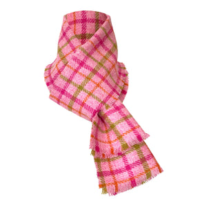 Harris Tweed of Scotland Scarf in a Pink, Green and Orange Check, Whole Scarf