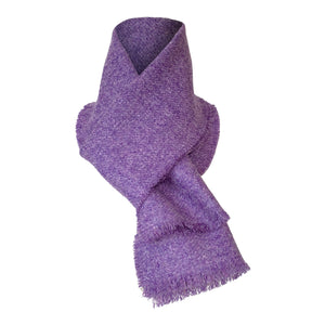 Displayed Harris Tweed of Scotland Scarf Purple, Whole Scarf