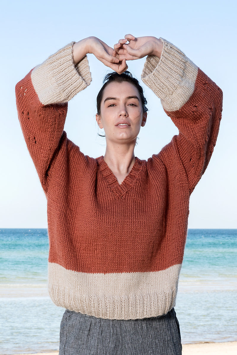 V Neck wide wool jumper ethically produced