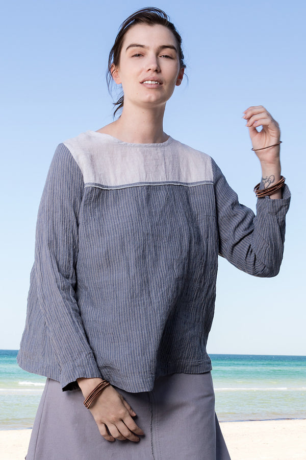Striped grey and blue pure linen boxy cut long sleeve top with silver linen yoke