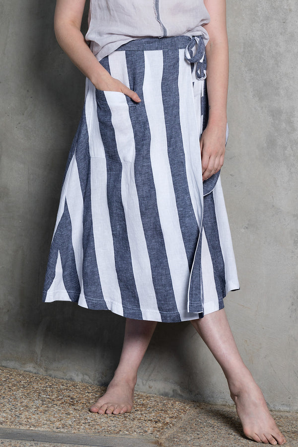 Pure linen striped linen wrap skirt with front pockets