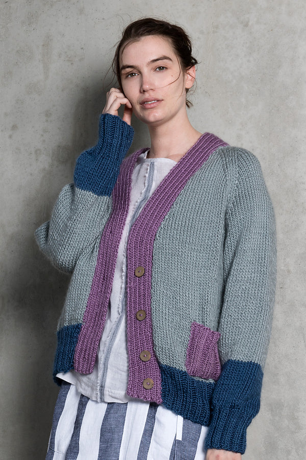 Merino wool oversized silver grey purple cardigan with patch pocket