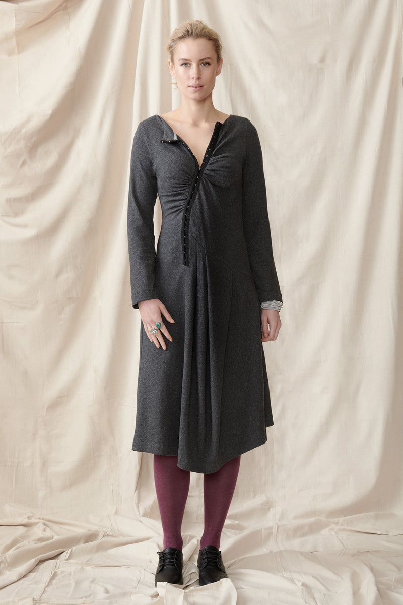 Organic cotton hemp winter stretch dress with asymmetrical hemline