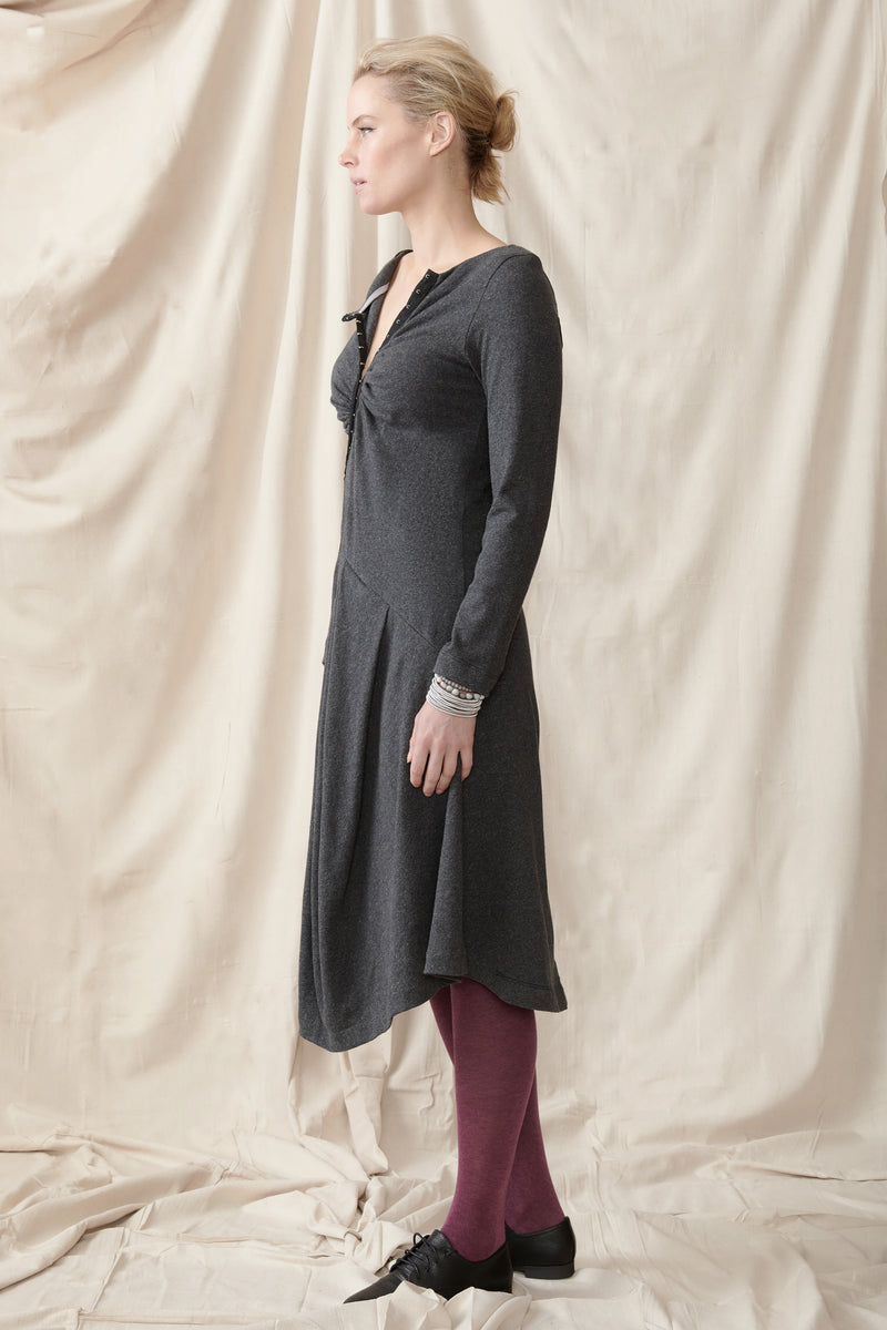 Side of asymmetrical winter long sleeve dress