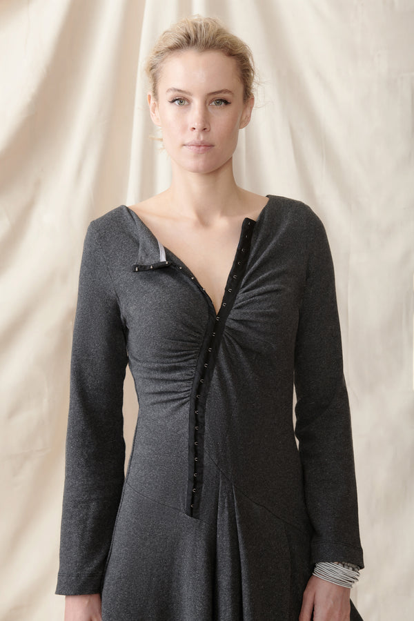 Front of charcoal stretch dress with hook and eye detail