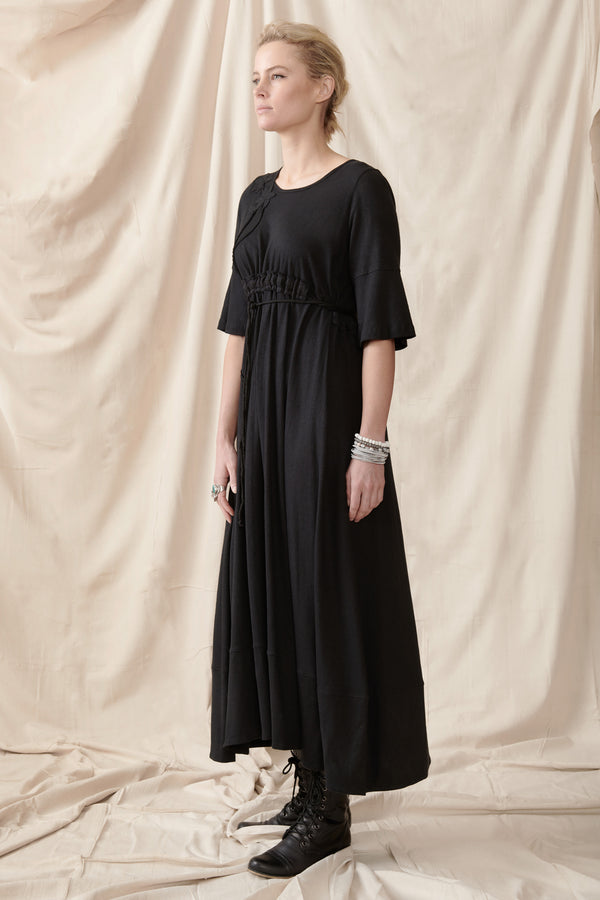 Long black hemp organic cotton short sleeve dress