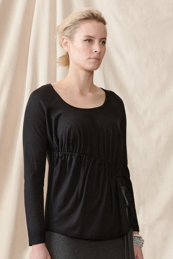 Black long sleeve stretch hemp top with asymmetrical gathers