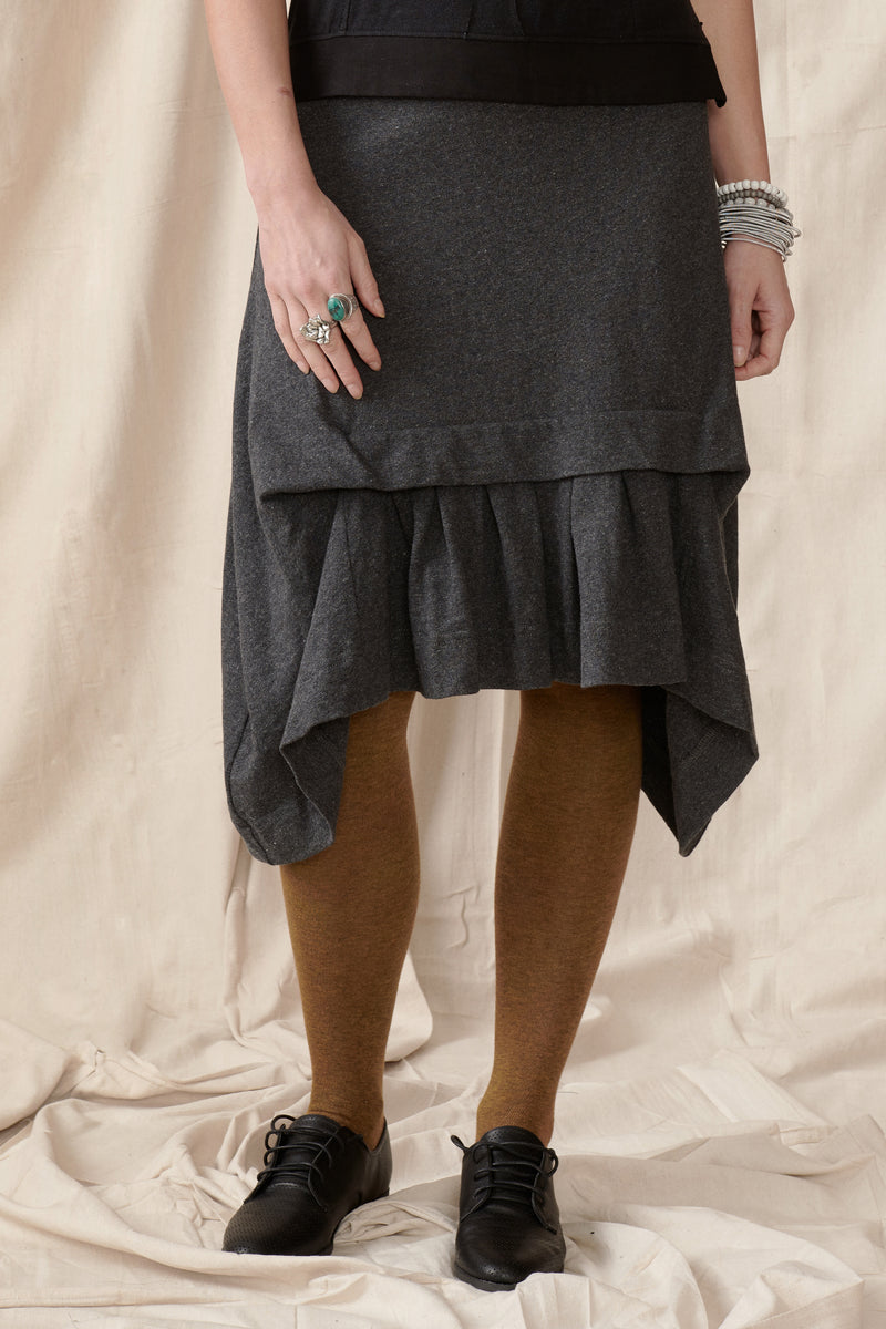 Front of skirt showing tuck and pleats