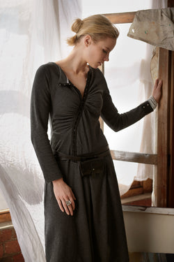 Charcoal organic cotton hemp stretch winter dress with asymmetrical front clasps.