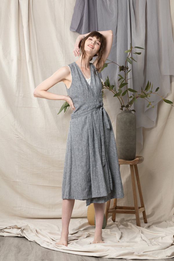 Organic cotton linen summer wrap dress in light grey blue.