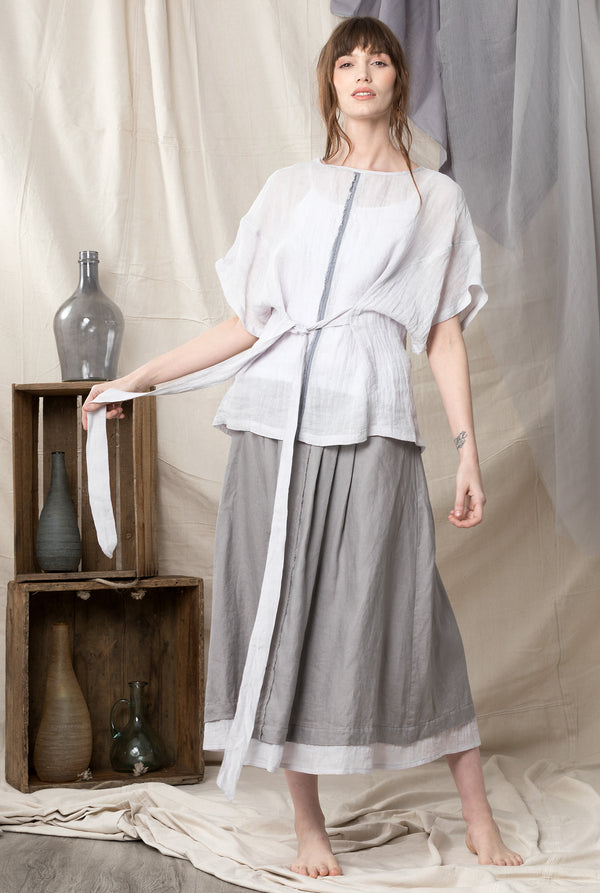 Silver semi sheet pure linen kimono inspired top with a linen skirt in mushroom colour