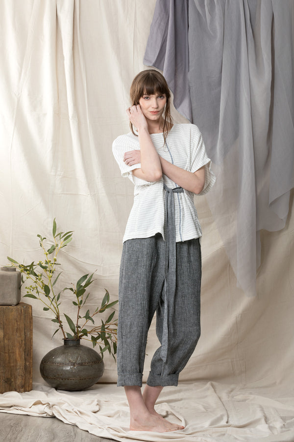 Crushed pure linen wide leg pants in grey with elasticated waist