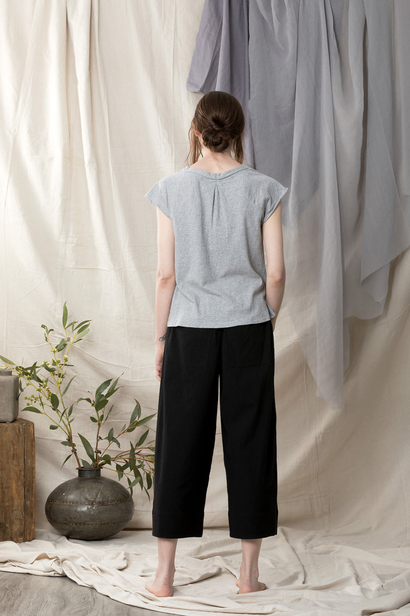 Back of hemp organic cotton grey melange summer top
