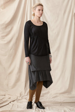 Hemp organic cotton charcoal skirt with front pleat and gathers