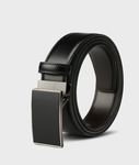 Italian Mens Leather Dress Belt Double-sided Automatic Buckle Slide Belt Business Belt