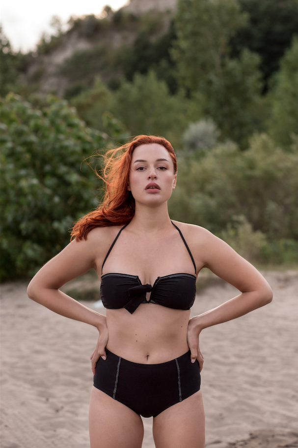 Betty Bandeau High Waist Bikini Black