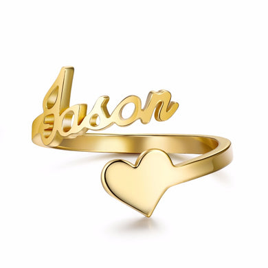 Spiral Ring Personalized Name With Heart Ring