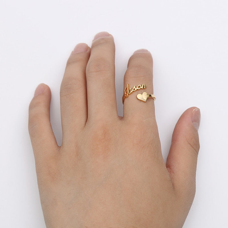 bd186e44d5 ... Load image into Gallery viewer, Spiral Ring Personalized Name With  Heart Ring ...