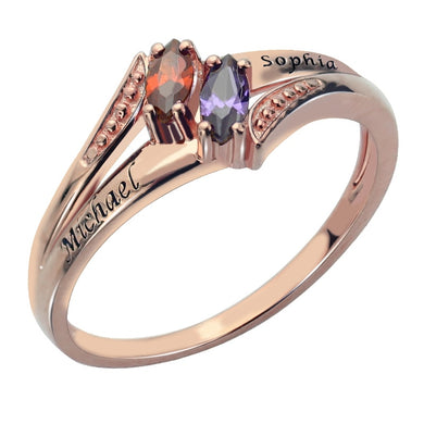 Engraved Trois Marquise Ring