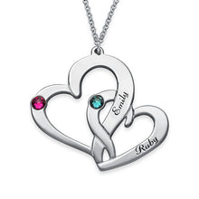 Load image into Gallery viewer, Engraved Two Heart Necklace