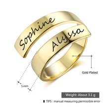 Load image into Gallery viewer, Personalized Engraved Name Adjustable Rings