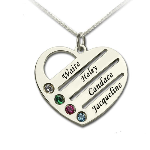 Personalized Mother's Heart Necklace