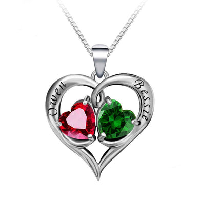 Engraved Necklace with Birthstones Heart