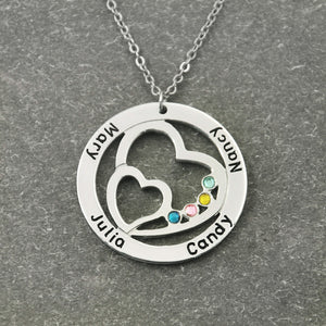 Necklace with Birthstone,Round Custom Family Necklace Double Heart