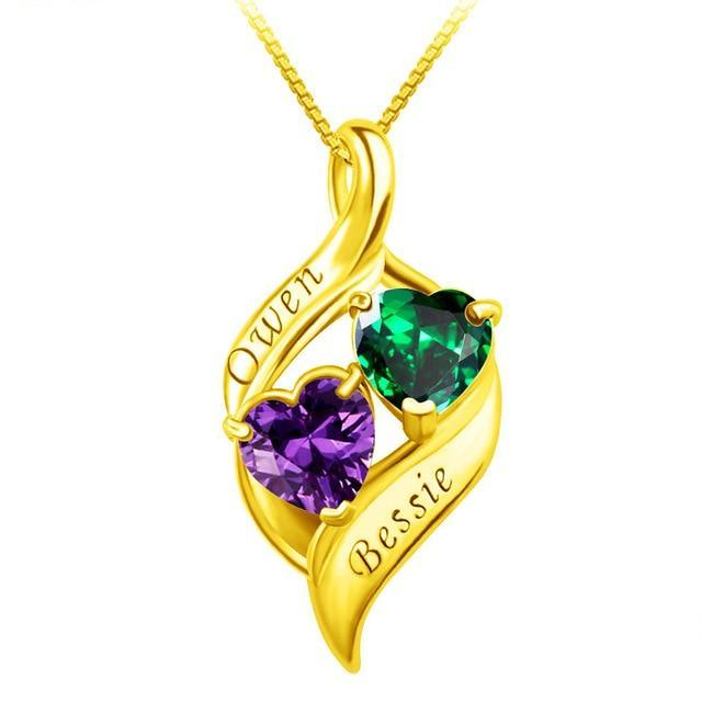 One Drop Couple Birthstone Necklace
