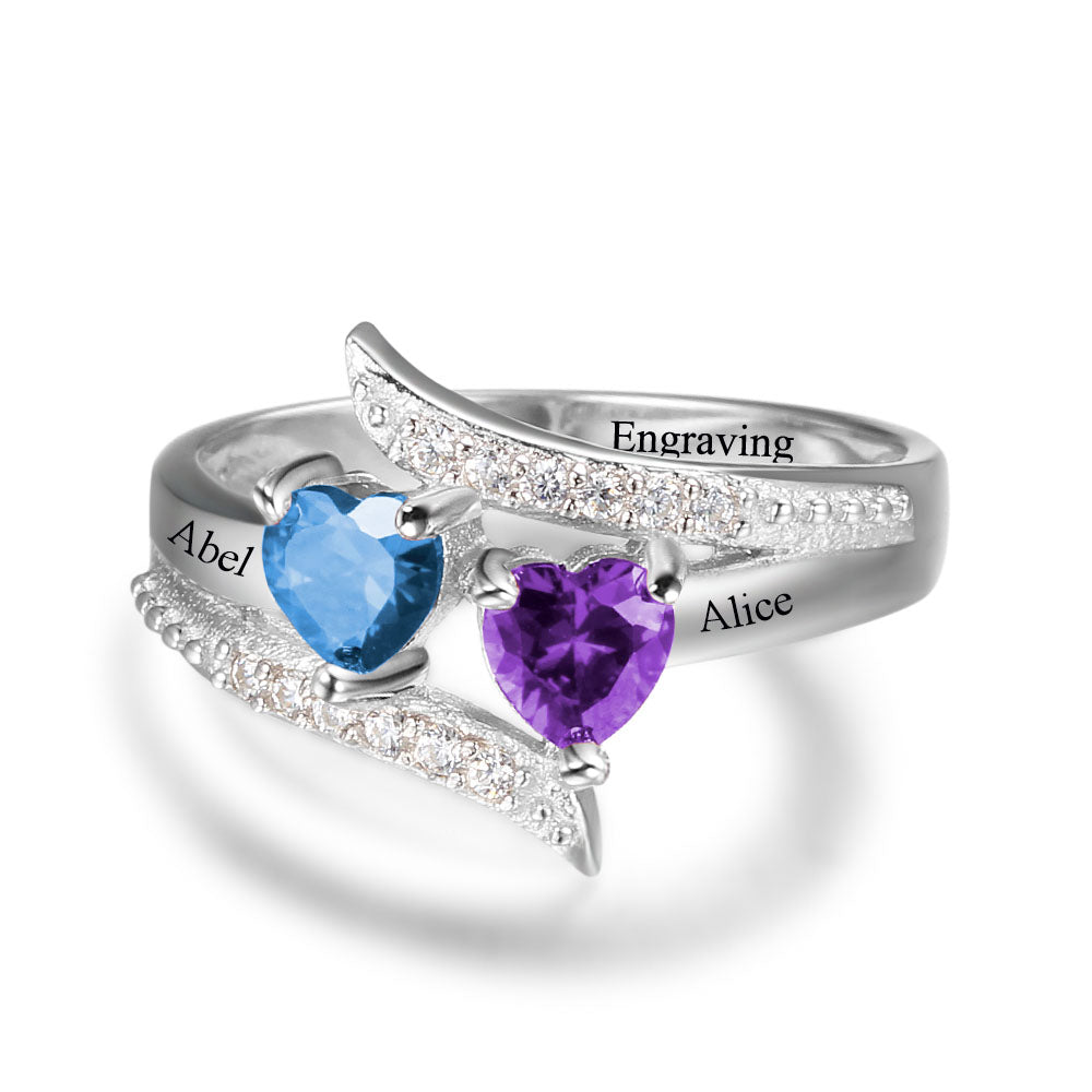 Diagonal Ring With Heart Stones
