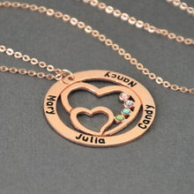 Load image into Gallery viewer, Necklace with Birthstone,Round Custom Family Necklace Double Heart