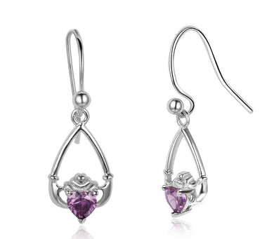 Claddagh Birthstone Drop Earrings