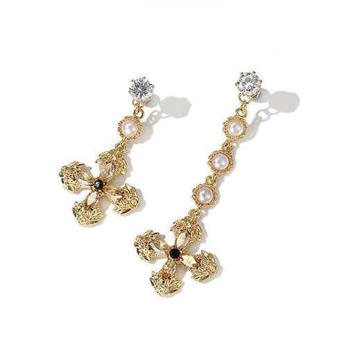 Asymmetric Cross Rhinestone Earrings