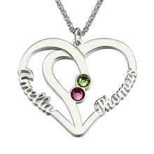 Load image into Gallery viewer, Heart Names Necklace with Two Birthstones