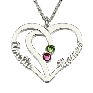 Heart Names Necklace with Two Birthstones